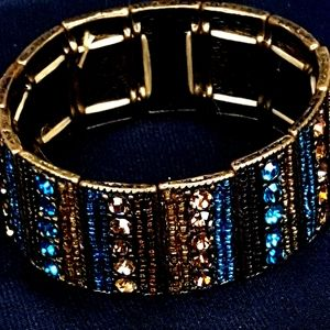 Turquoise Smokey Rhinestone Bead Bracelet